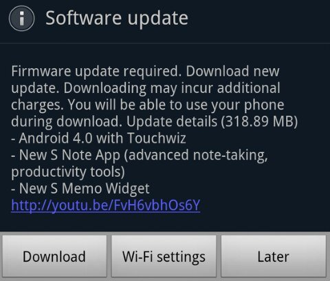 ICS update for Galaxy Note