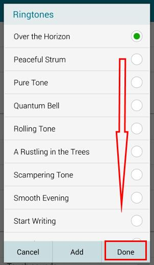 samsung ringtone selected highlights