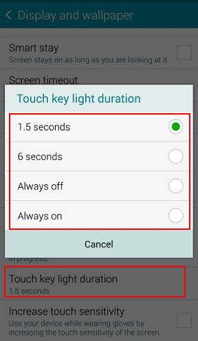 How to turn off/on the touch key light (return and recent