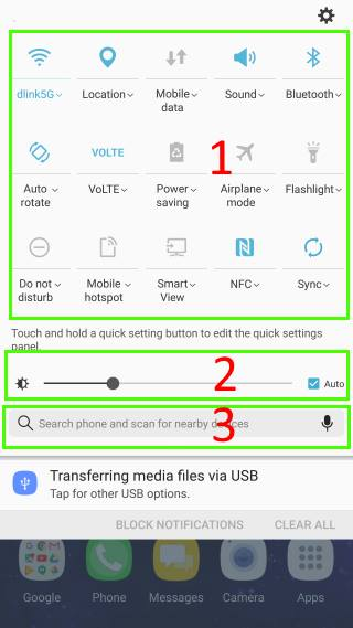 access Galaxy Note 7 quick setting buttons