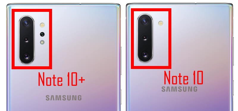 galaxy note 10 camera vs galaxy note 10+ camera