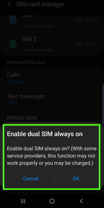 enable dual SIM always on