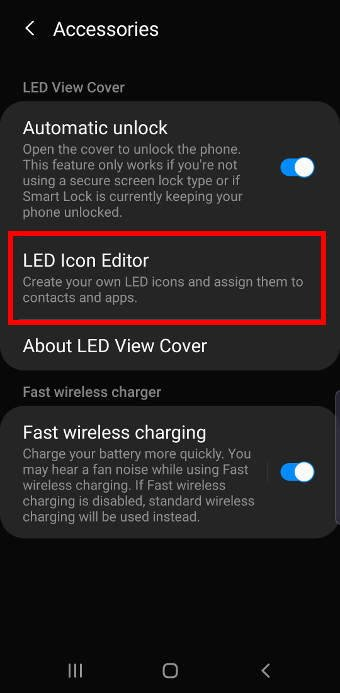 Galaxy Note 10 LED cover under advanced fatures