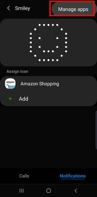 manage apps associated with a LED icon